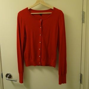 Express red Cardigan L large with crystal buttons